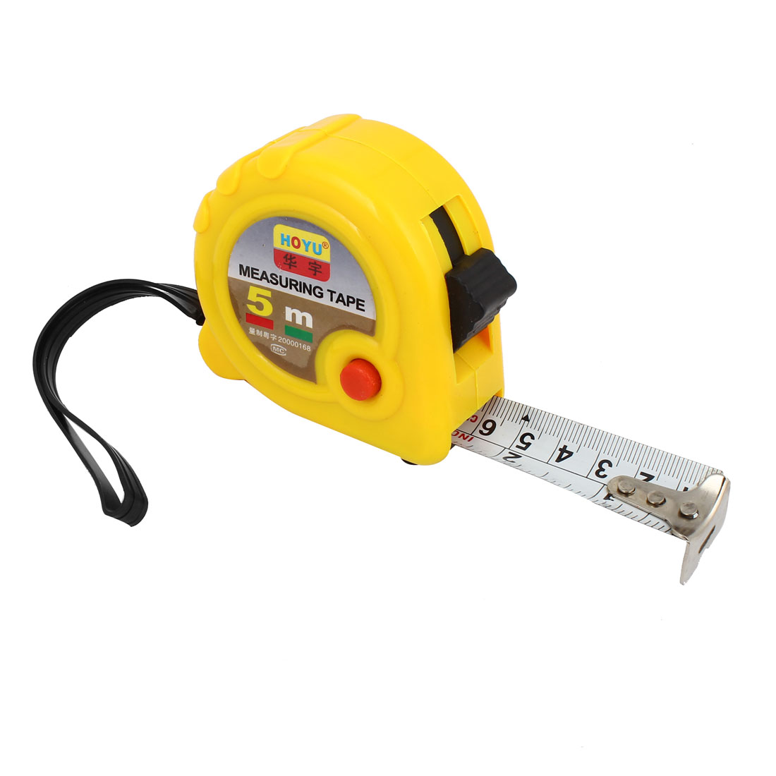 Yellow 22mm Tape Width Ruler Tape Measuring Tool 5 Meters 16.4 Feet w Strap