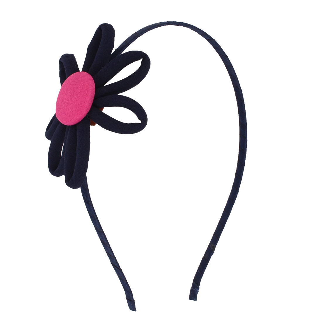 Girls Metal Frame Flower Decor Hairband Hair Hoop Navy Blue Fuchsia