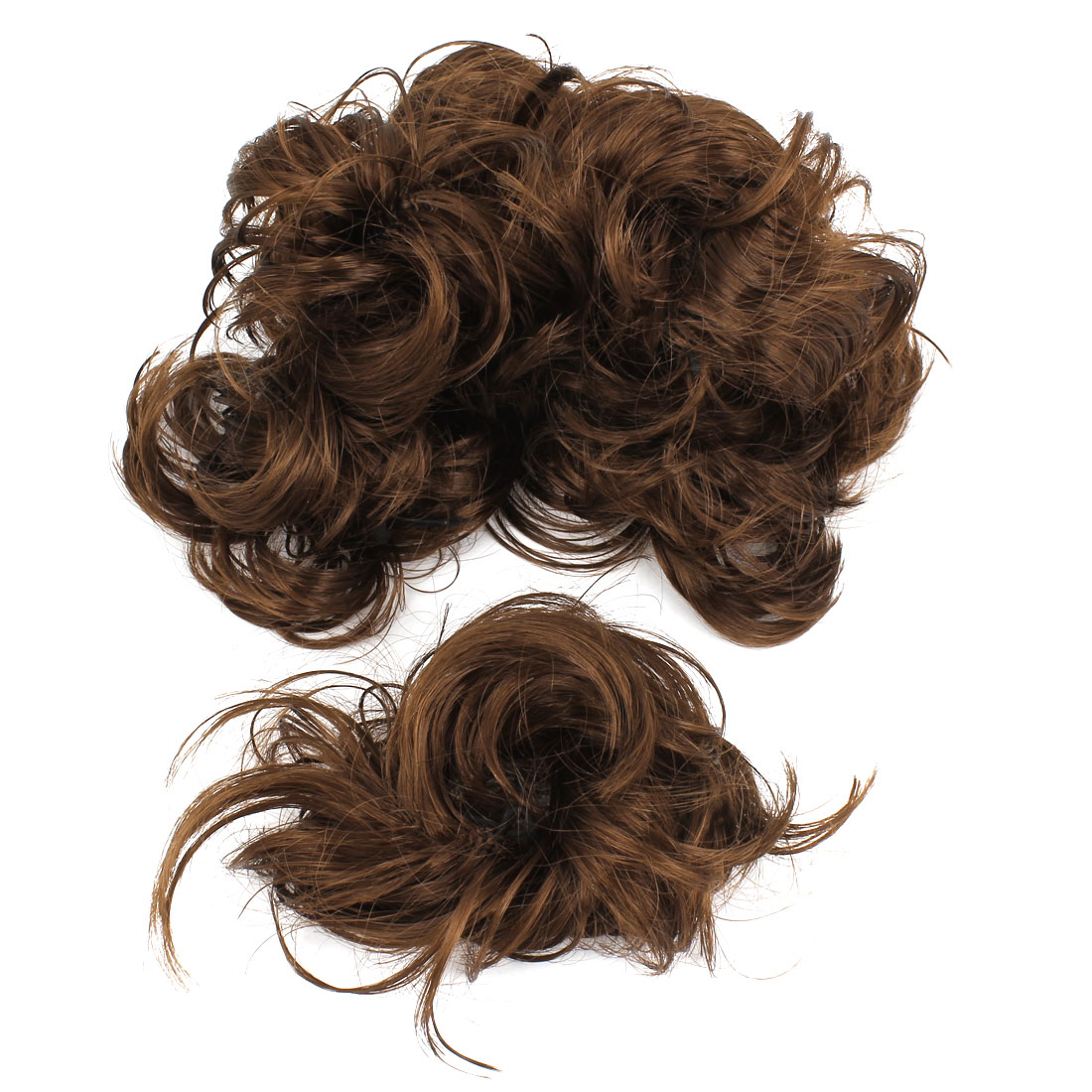 Wedding Brown Faux Hair Stretchy Band Curly Ponytail Hairpiece Bun 7 Pcs