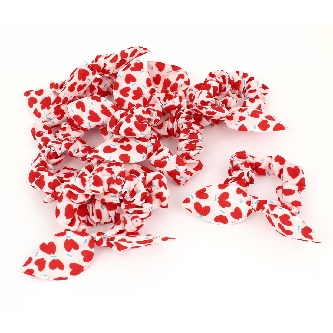 Girls Red Heart Print Rabbit Ear Elastic Hair Tie Ponytail Holder White 10 Pcs