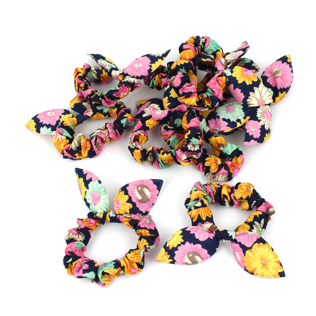 Girls Colorful Flower Pattern Rabbit Ear Elastic Hair Tie Ponytail Holder 10 Pcs