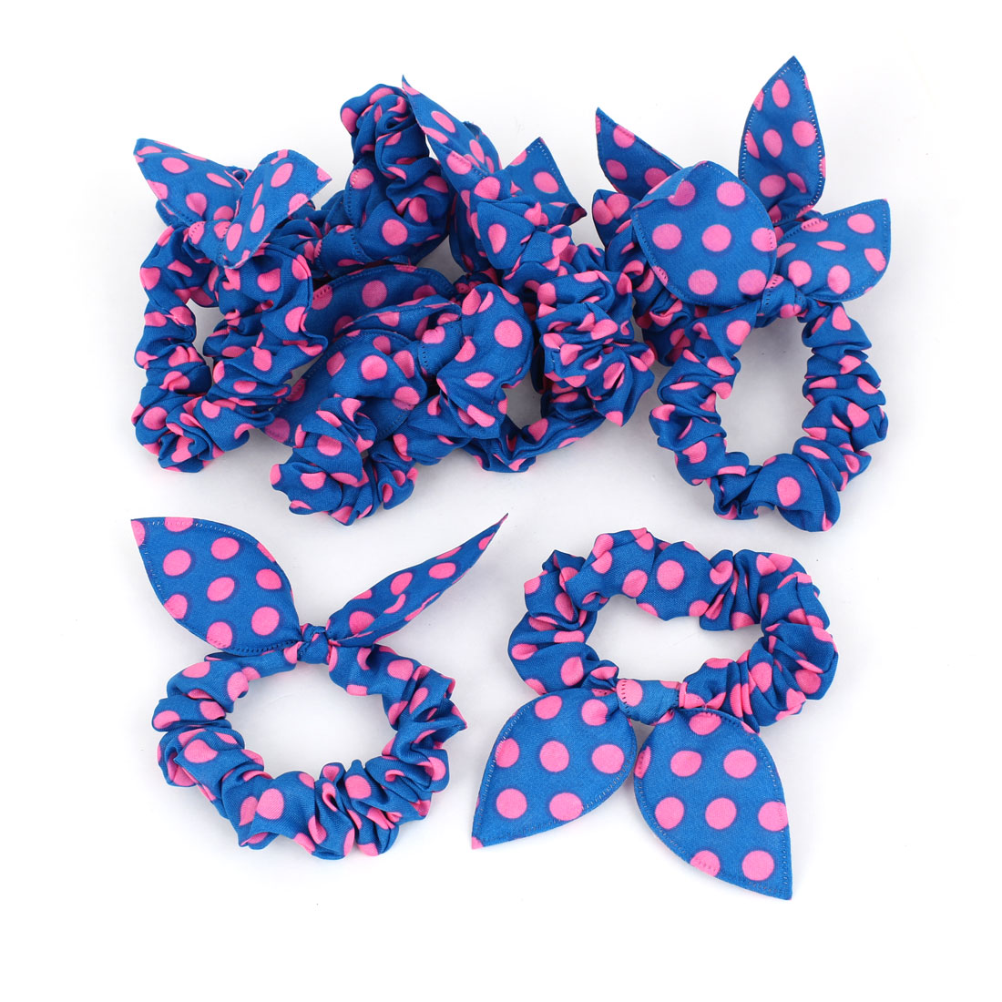 Girls Dots Pattern Rabbit Ear Stretch Hair Tie Ponytail Holder Pink Blue 10 Pcs