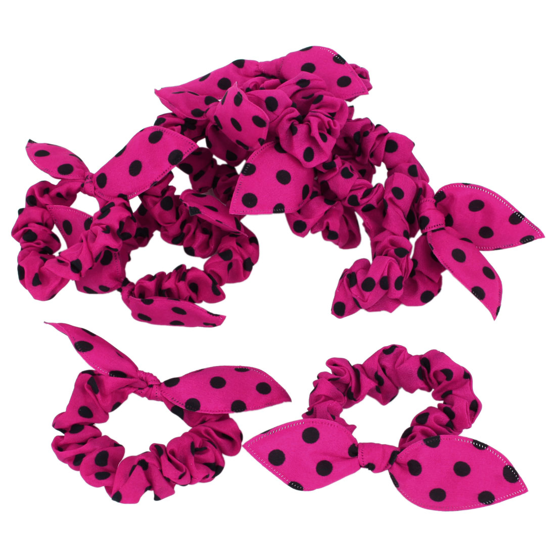 Lady Black Dot Print Rabbit Ear Elastic Hair Tie Ponytail Holder Fuchsia 10 Pcs
