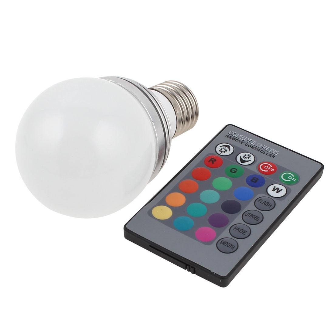 E27 16 Colors Change LED RGB Magic Light Bulb Lamp 3W AC 85-265V w Remote Controller
