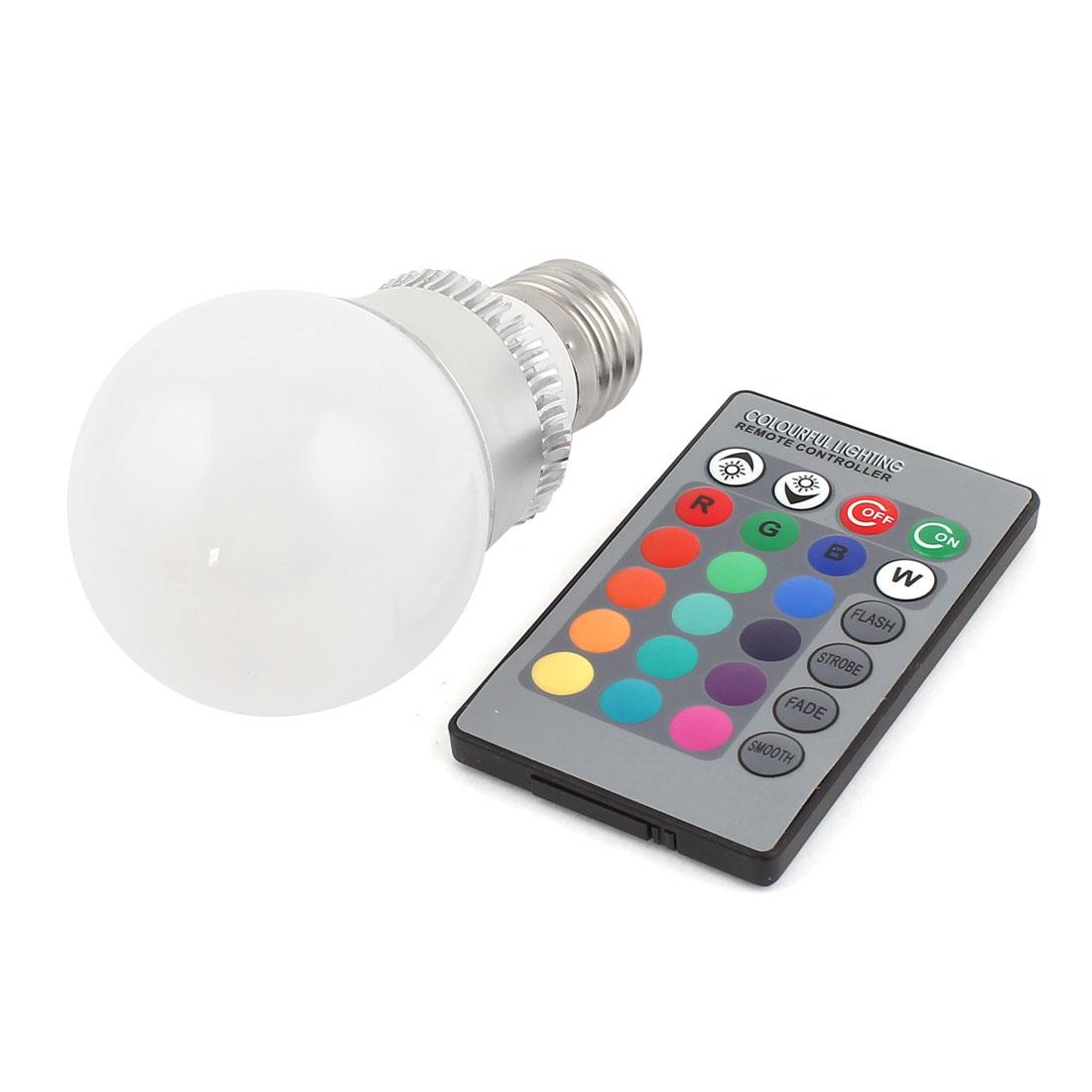 E27 16 Colors Changing LED RGB Magic Light Bulb Lamp 3W AC 85-265V w Remote Controller