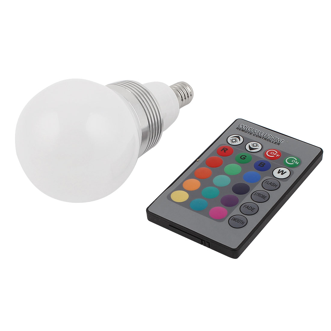E14 16 Colors Changing Light RGB LED Lamp Bulb 3W AC 85-265V w Remote Controller