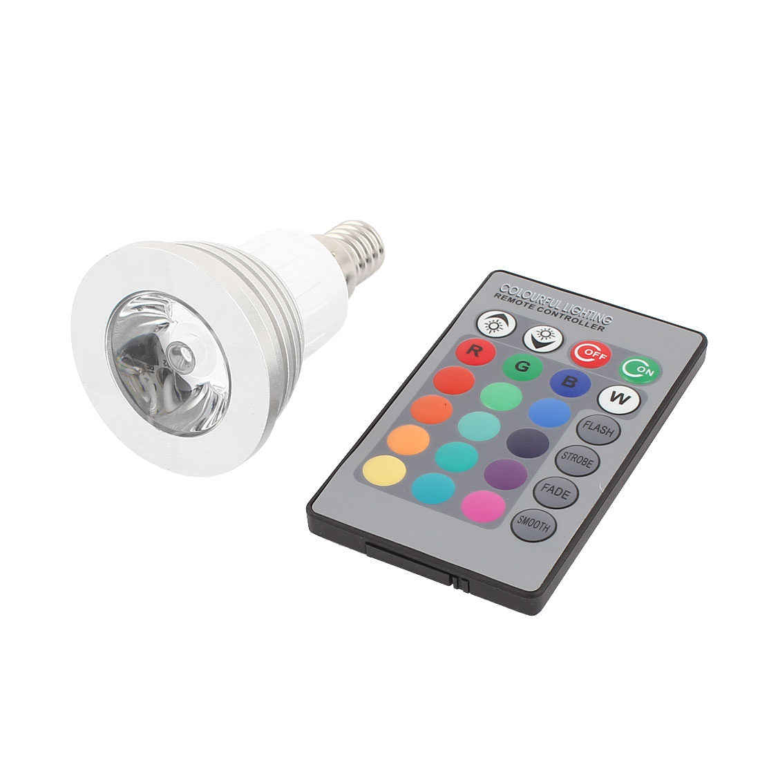 E14 16 Colors Changing LED RGB Magic Light Bulb Lamp 3W AC 100-240V w Remote Controller