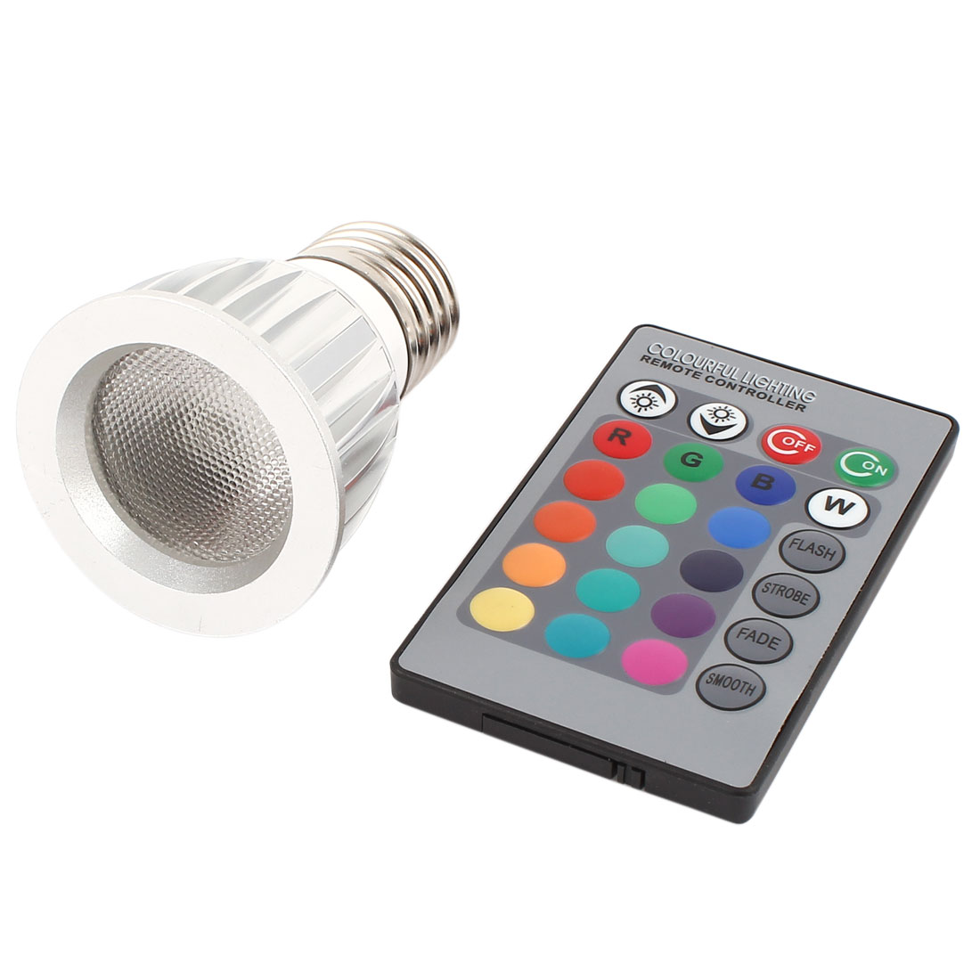 E27 16 Colors Changing Light RGB LED Lamp Bulb 3W AC 85-260V w Remote Controller