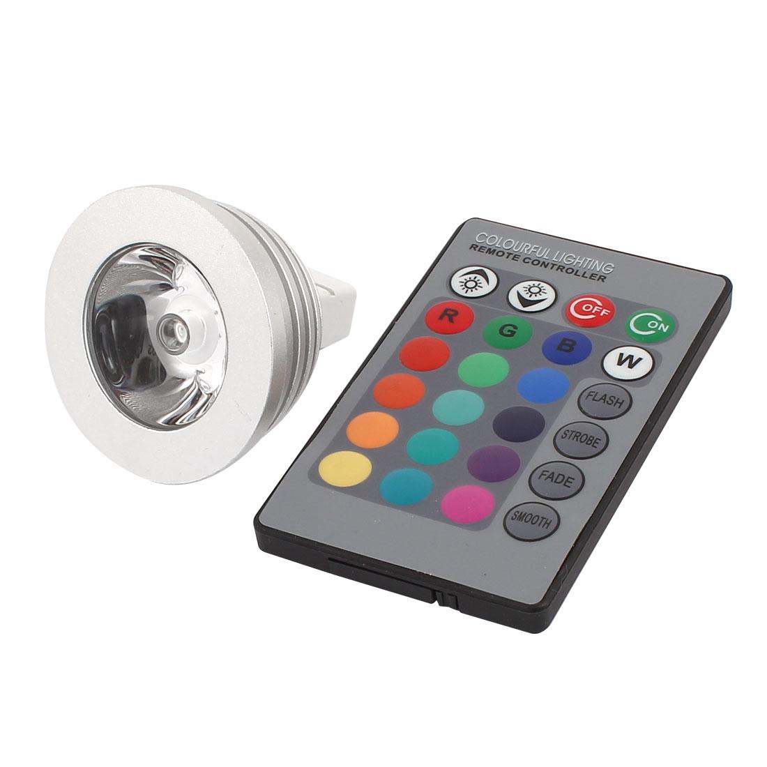 MR16 16 Colors Magic Light RGB LED Lamp Bulb 3W w IR Remote Controller