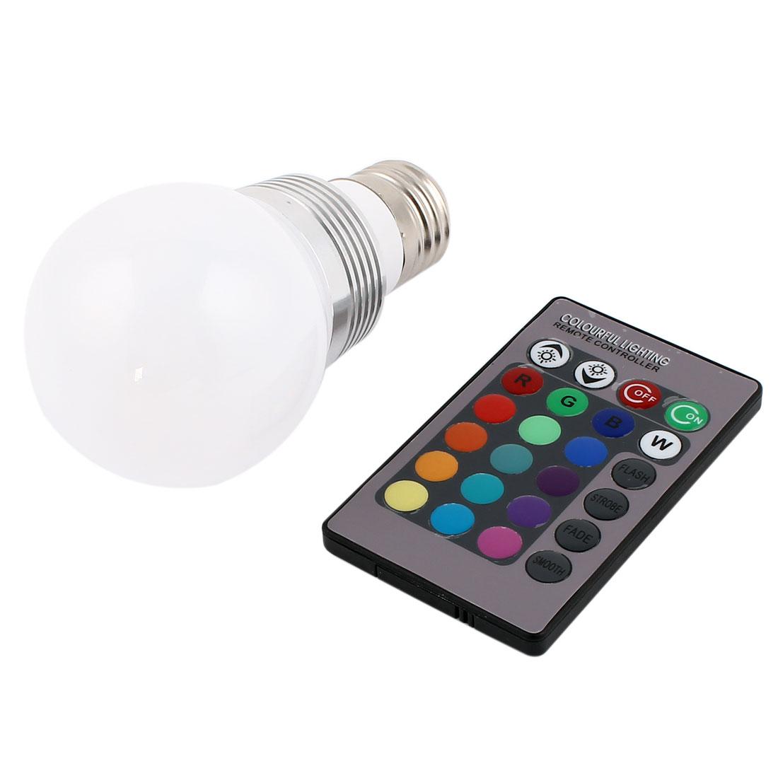 E27 16 Colors Changing LED RGB Magic Light Bulb Lamp 3W AC 100-240V w Remote Controller