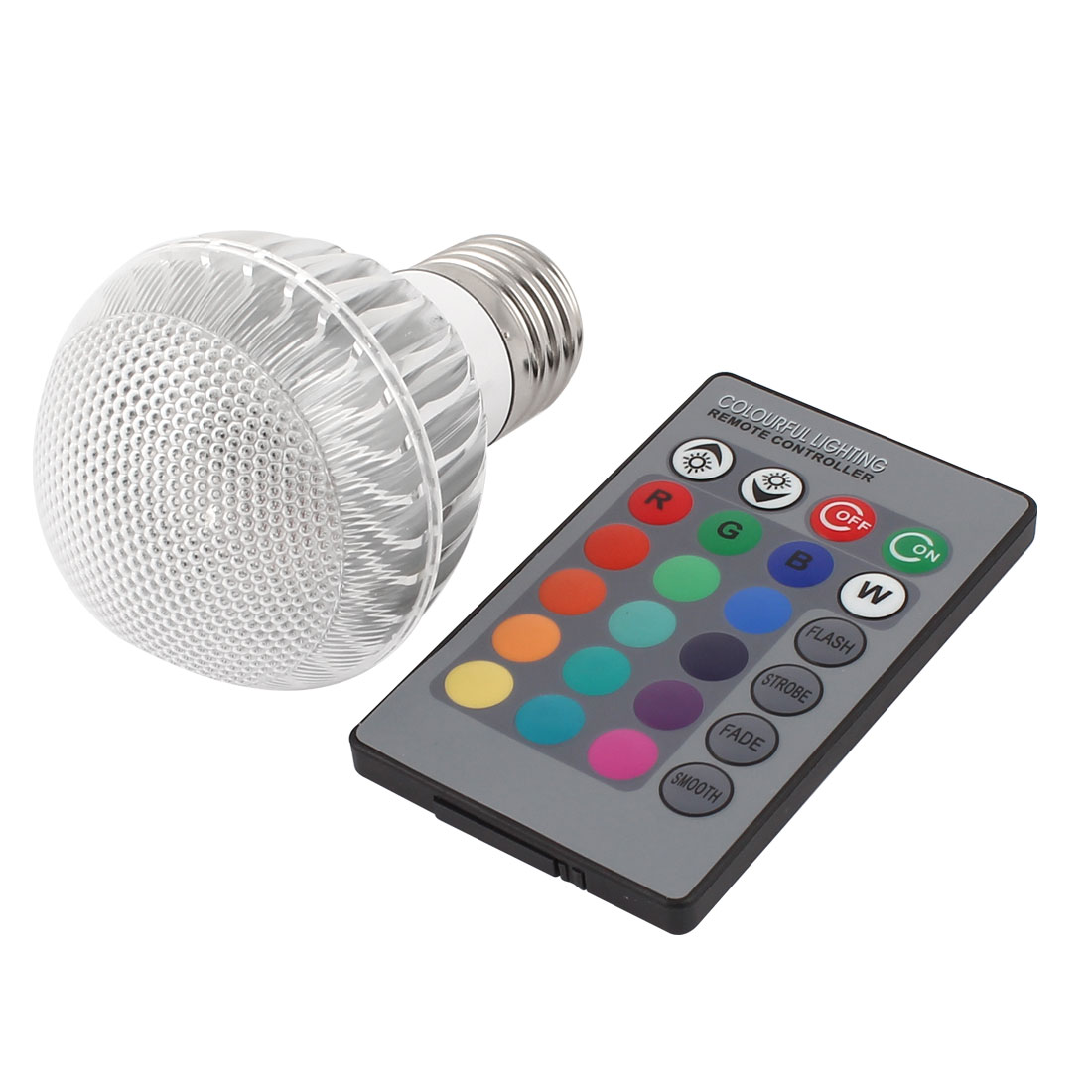 E27 16 Colors Light RGB LED Lamp Bulb 3W AC 85-260V w IR Remote Controller