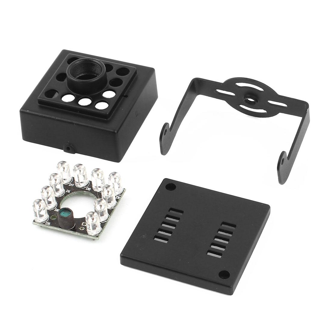 HD46A Black Metal CCTV Camera Enclosure Box Housing M12 w IR LED Board