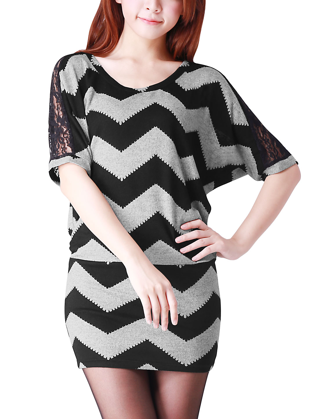Women 1/2 Sleeves Scoop Neck Zigzag Pattern Gray Black Tunic Top 1X