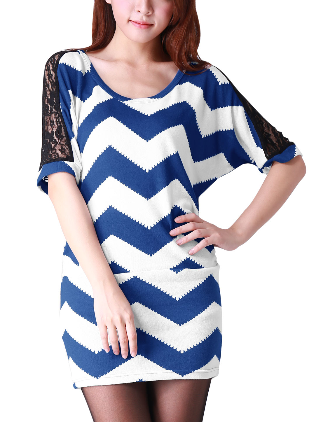 Ladies Zigzag Pattern Half Batwing Sleeves Royalblue White Tunic Top 1X