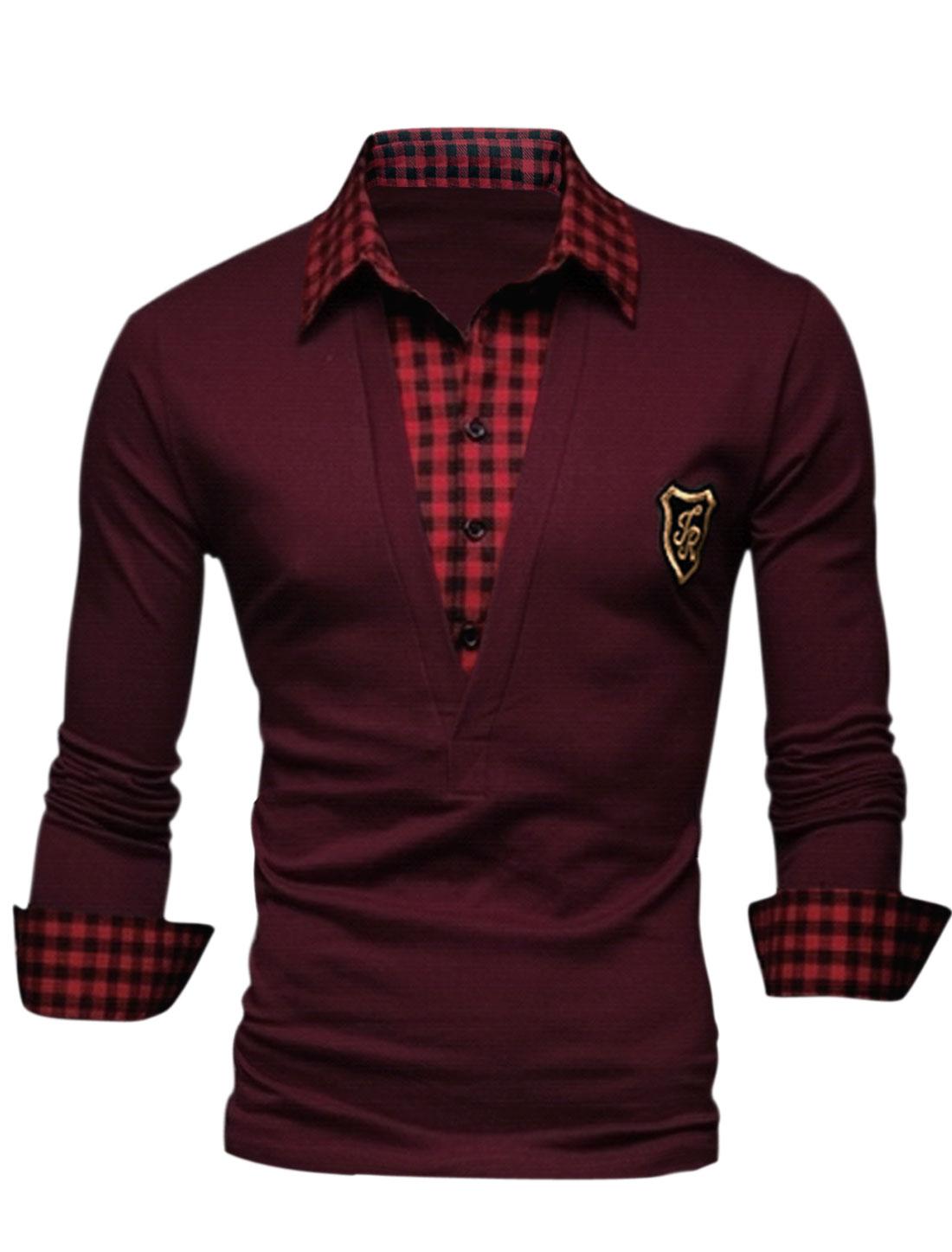 Men Color Block Plaids Pattern Half Buttoned Placket Shirt Burgundy M