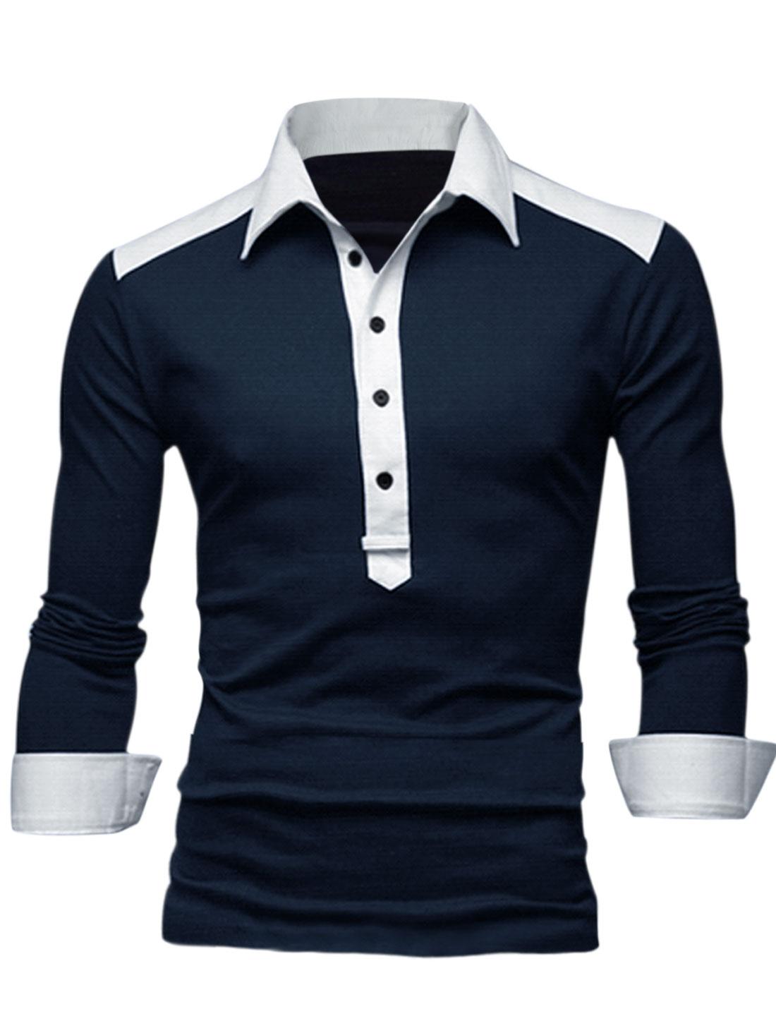 Men Point Collar 1/2 Placket Contrast Color Shoulder Casual Polo Shirt Navy Blue M
