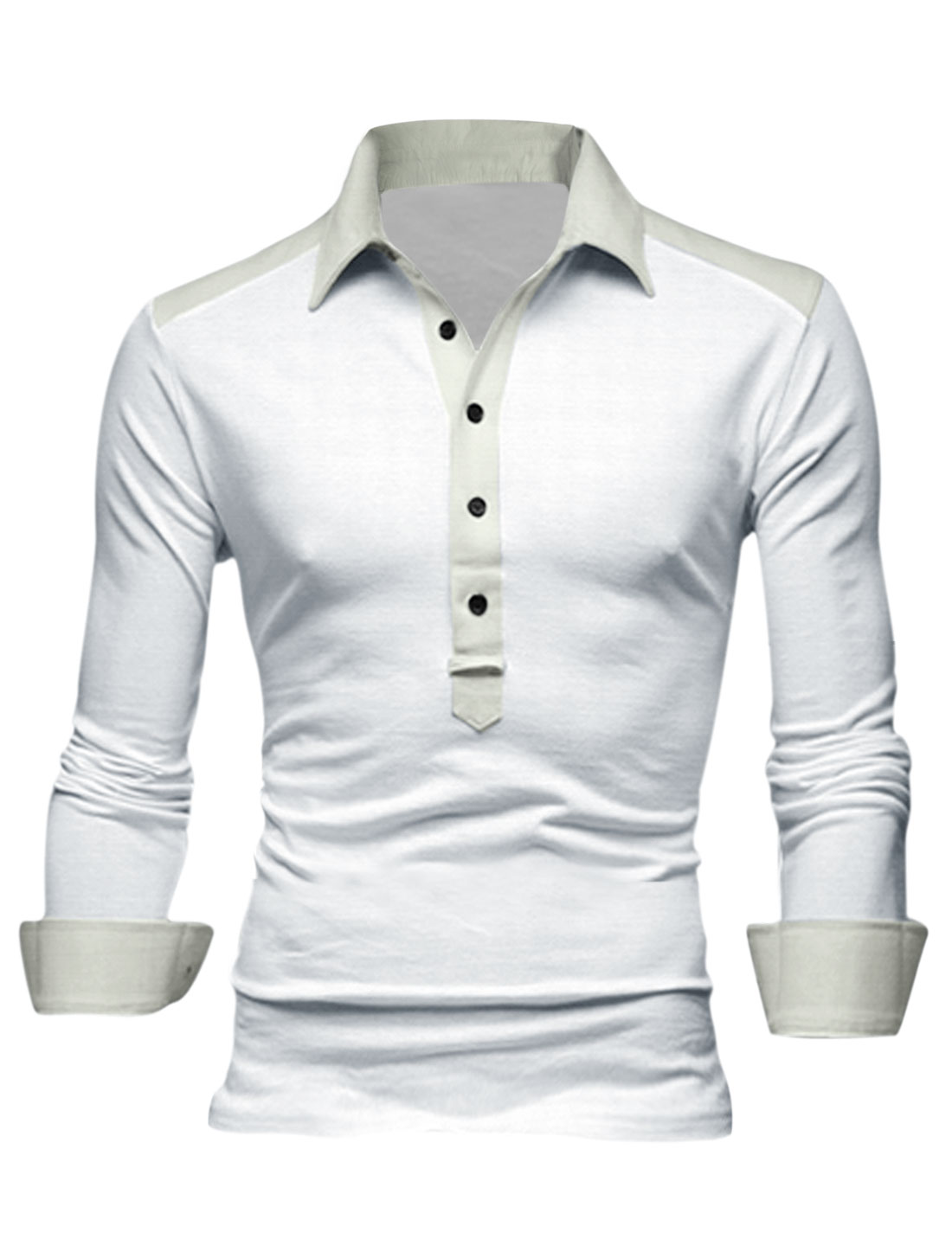 Men Buttoned Cuffs 1/2 Placket Contrast Color Shoulder Casual Polo Shirt White M