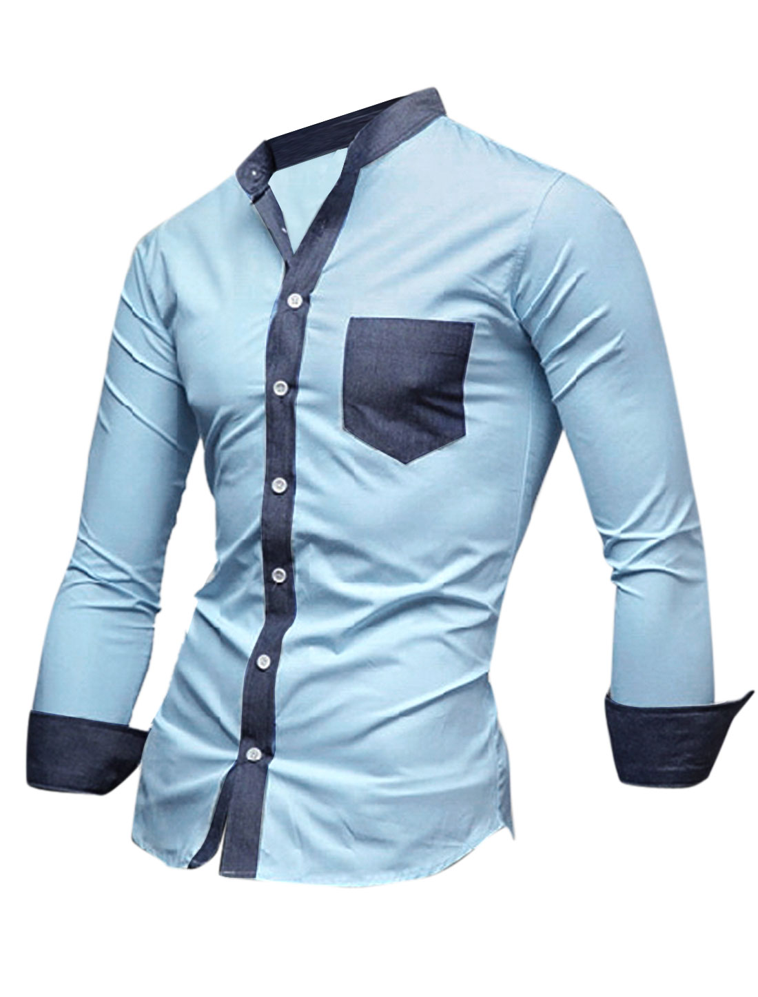 Men Stand Collar Denim Panel Contrast Chest Pocket Casual Shirt Light Blue M