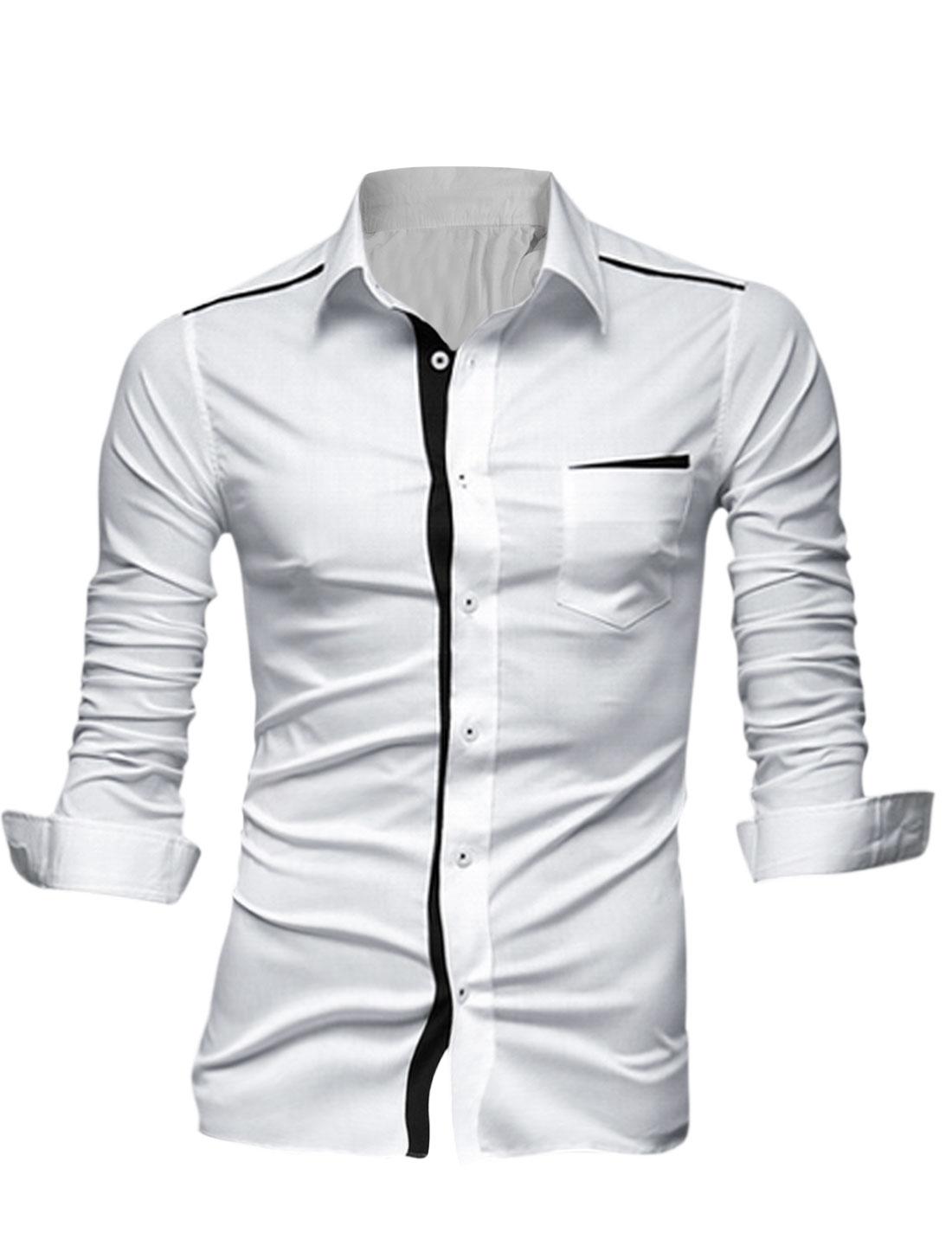 Men Buttoned Cuffs Contrast Color Placket Patched Detail Leisure Shirt White M