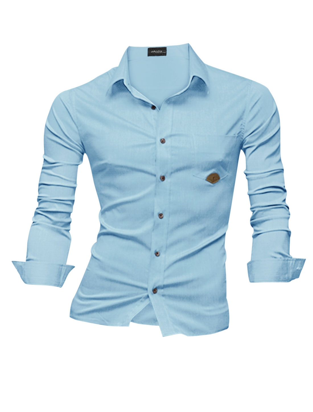 Men Point Collar Single Breasted One Chest Pocket Button Down Shirt Light Blue M