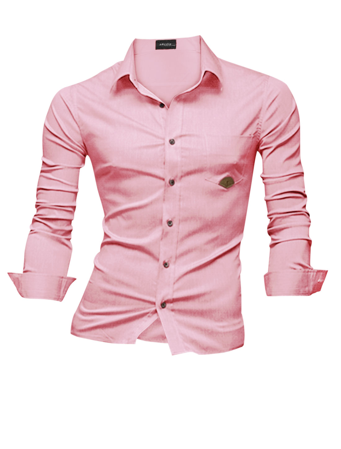 Men Casual Buttons Closed One Chest Pocket Button Down Shirt Pink M