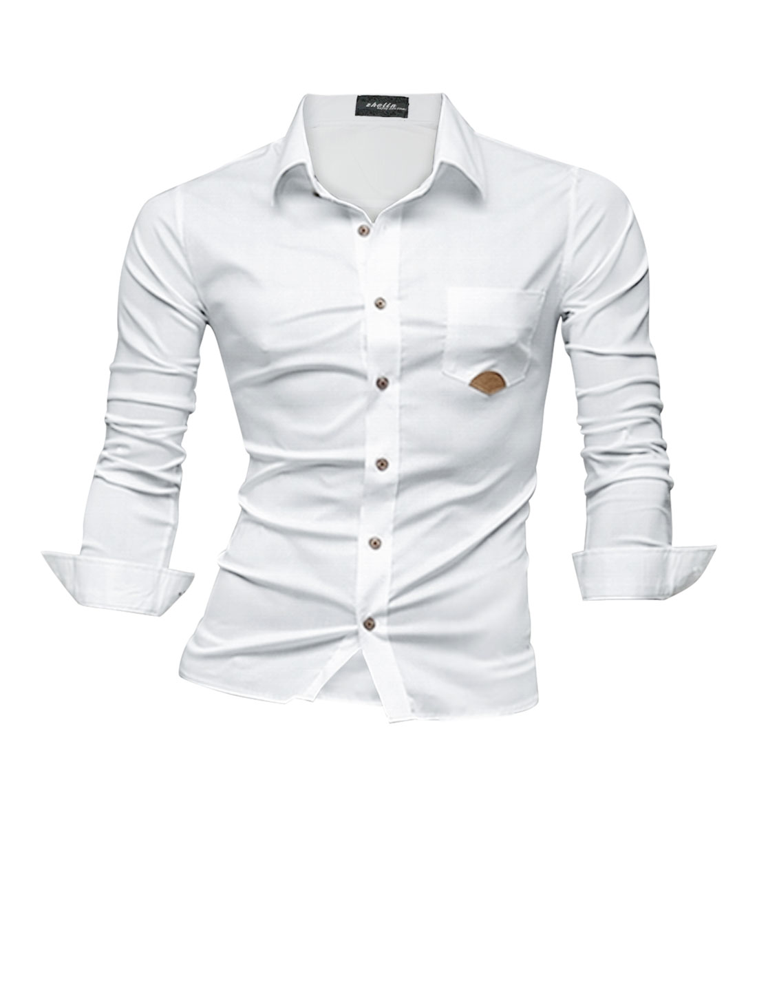 Men Casual Buttons Closed Long Sleeves Chest Pocket Button Down Shirt White M