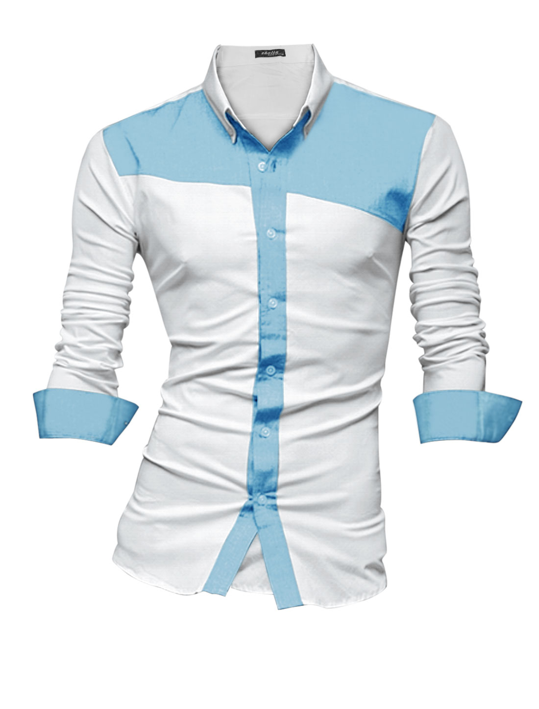 Men Single Breasted Contrast Color Placket Casual Button Down Shirt Light Blue White M