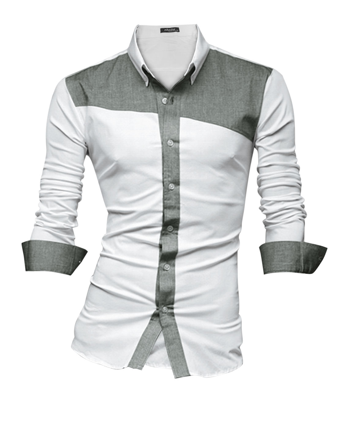 Men Panel Contrast Color Placket Casual Button Down Shirt Light Gray White M