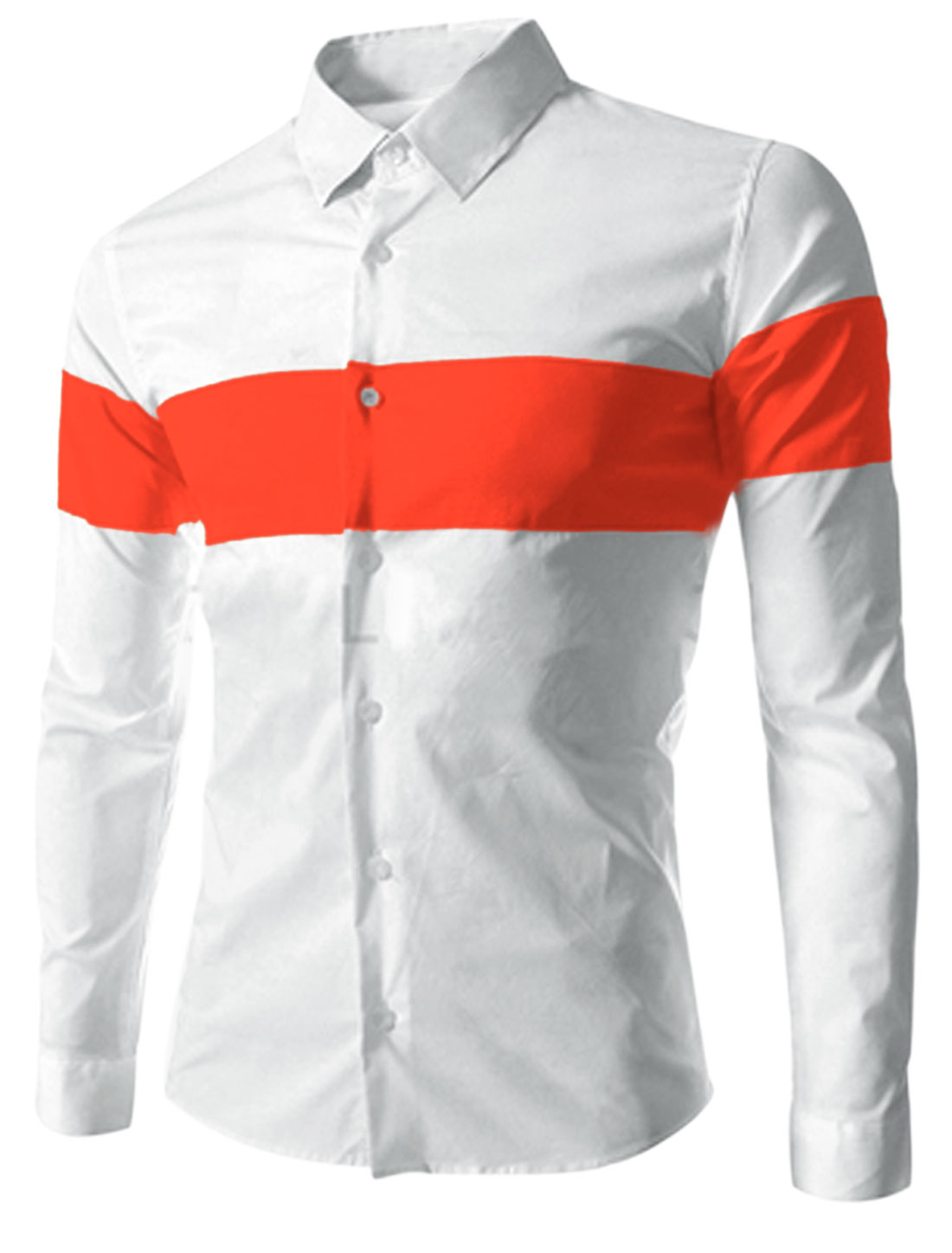 Men NEW Single Breasted Contrast Color Casual Top Shirt Orange White M