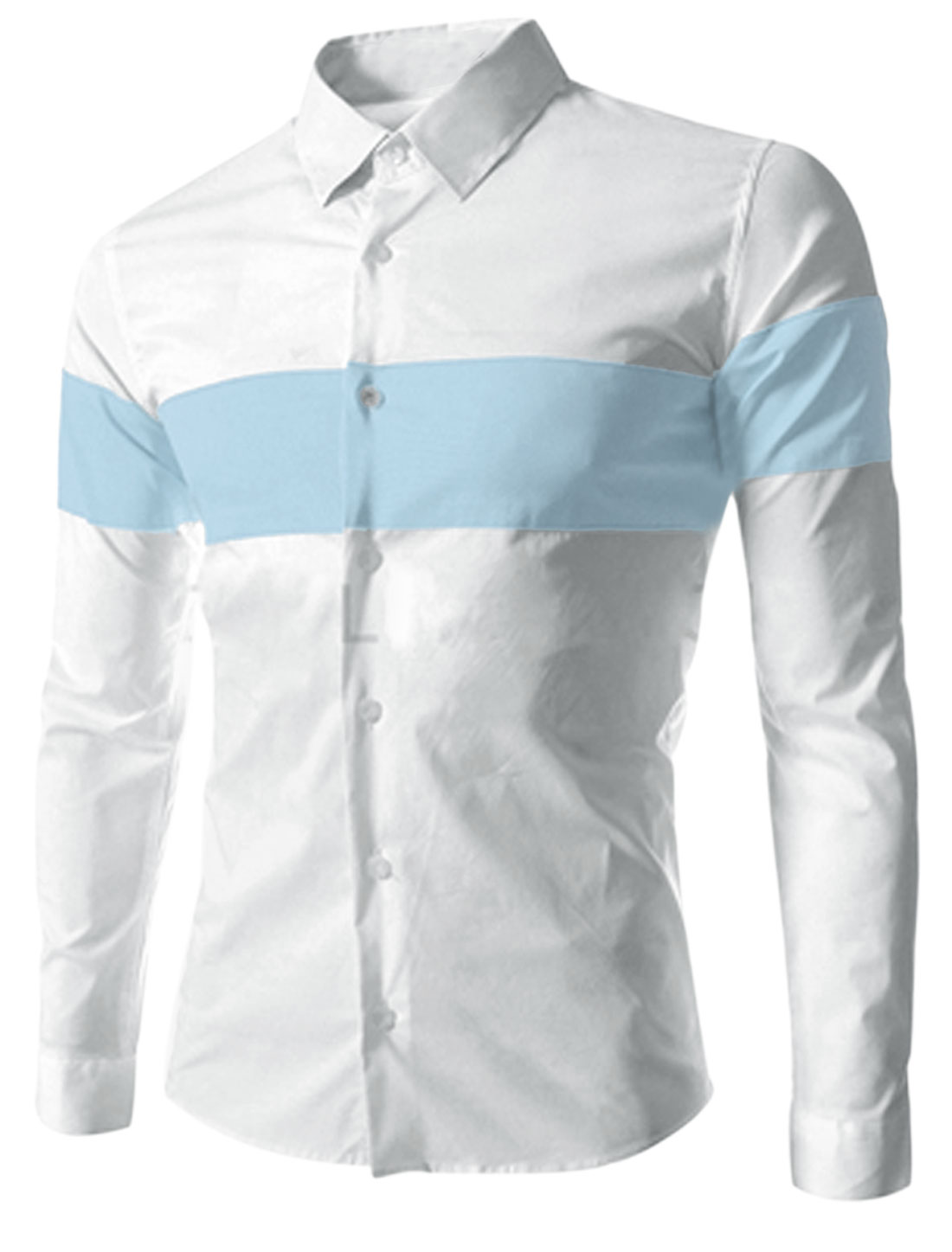 Men Buttoned Cuffs Contrast Color Leisure Top Shirt Baby Blue White M