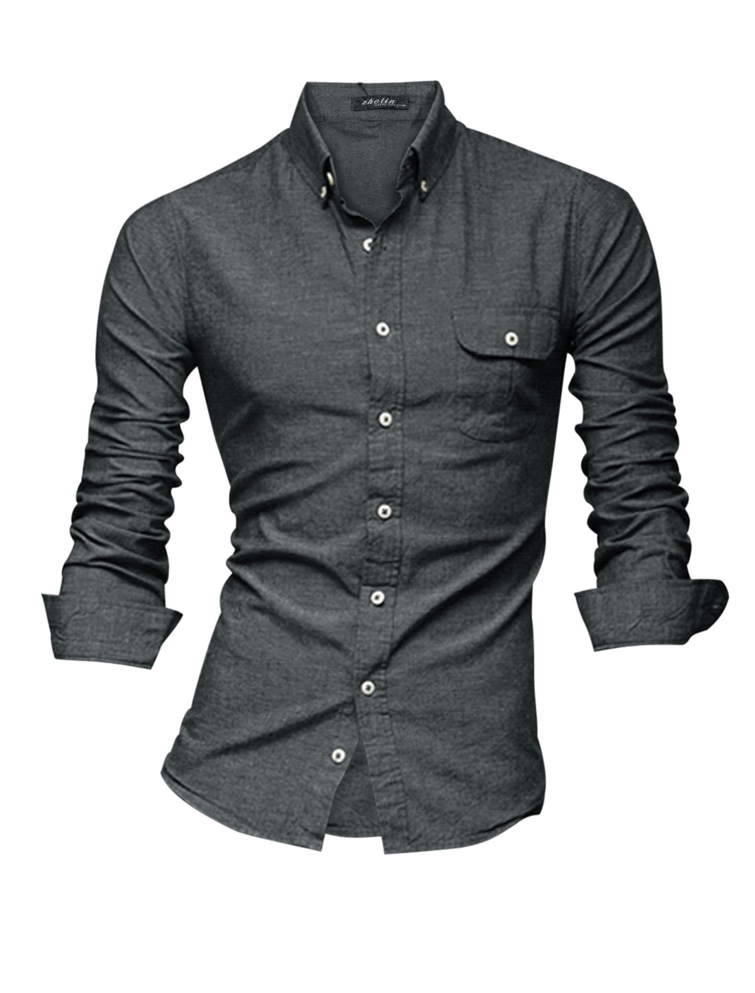 Men Point Collar Single Breasted One Chest Pocket Casual Shirt Dark Gray M