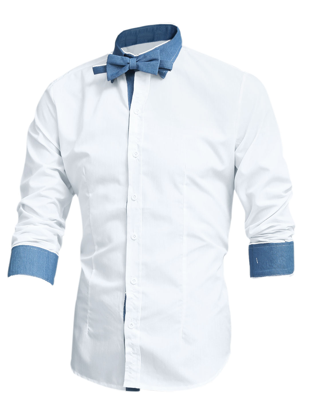 Men Contrast Color Spliced Single Breasted Shirt w Removable Bow Tie White M
