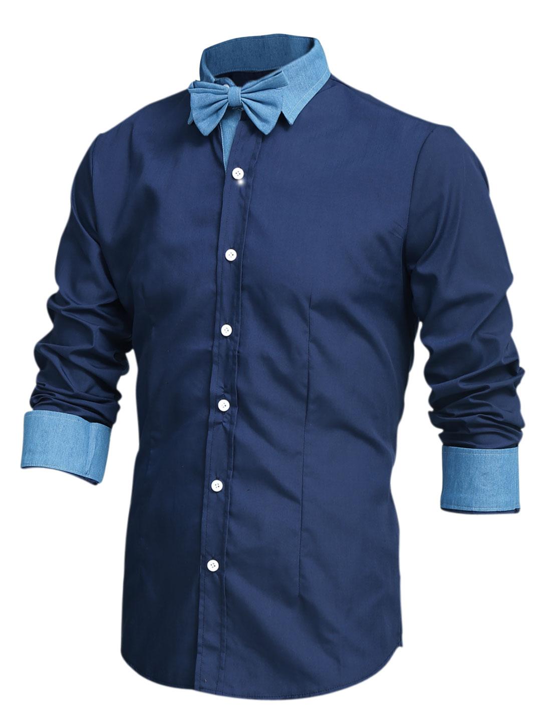Men Color Block Spliced Slim Shirt w Removable Bow Tie Navy Blue M