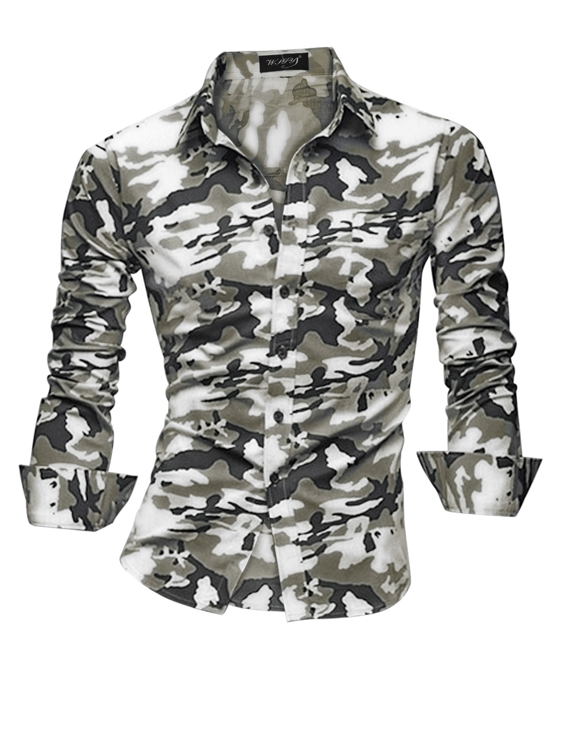 Men Point Collar One Pocket Camo Print Casual Button Down Shirt White Army Green M
