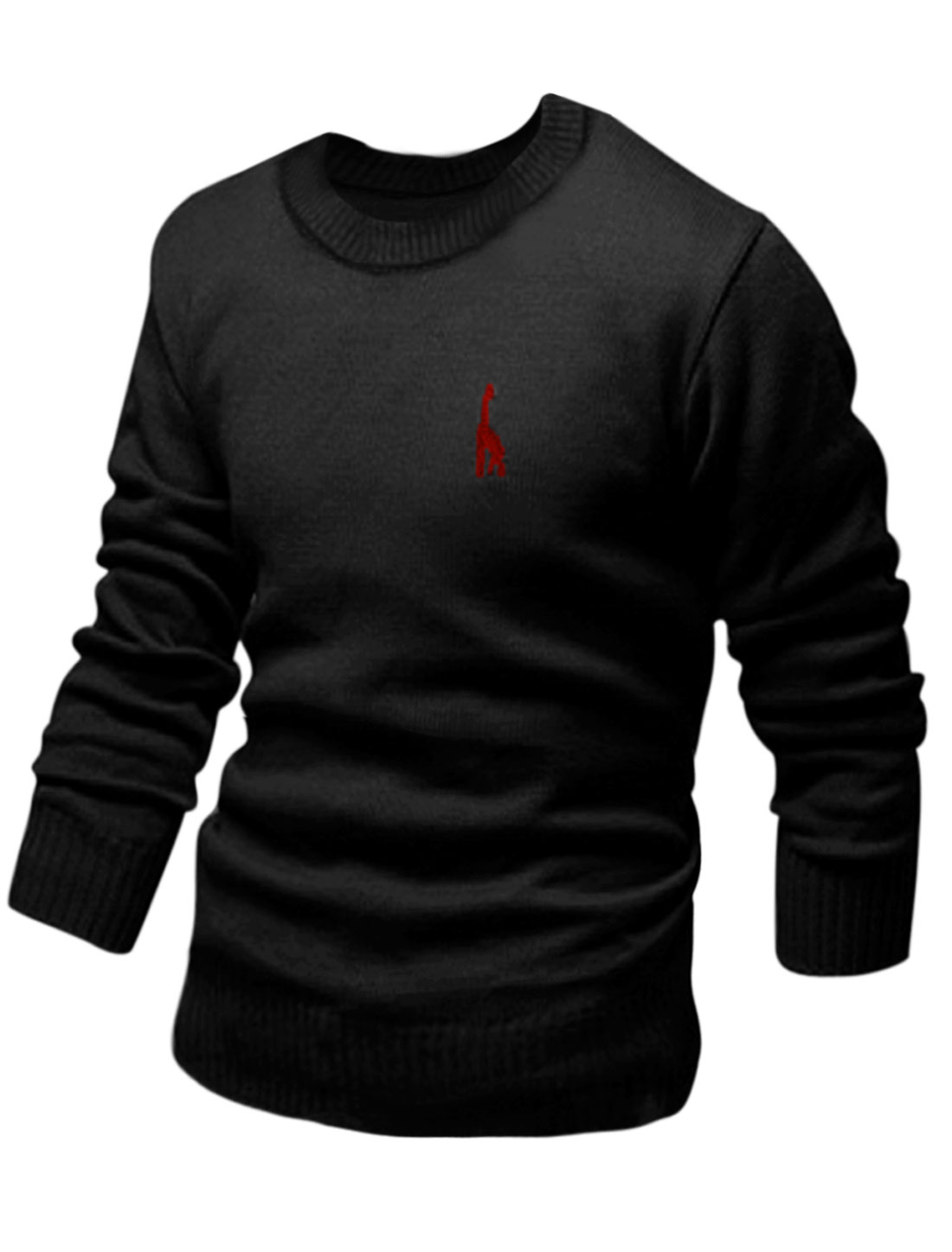 Men Round Neck Long Sleeve Embroidery Details Casula Knit Shirt Black M