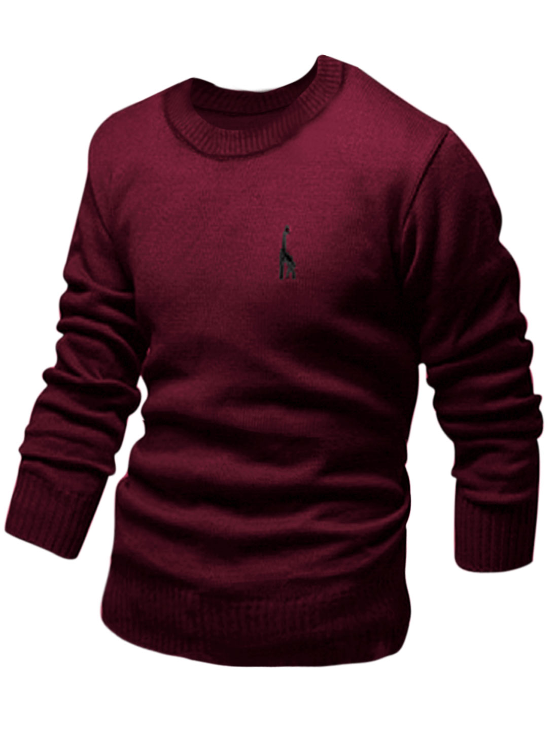 Men Slipover Embroidery Details Casual Knit Shirt Burgundy M
