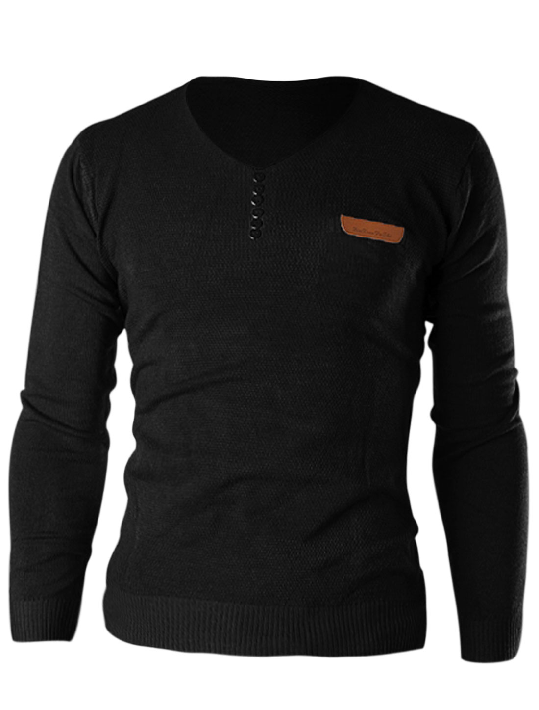 Men V Neck Long Sleeve Button Decor Front Casual Knit Shirt Black M