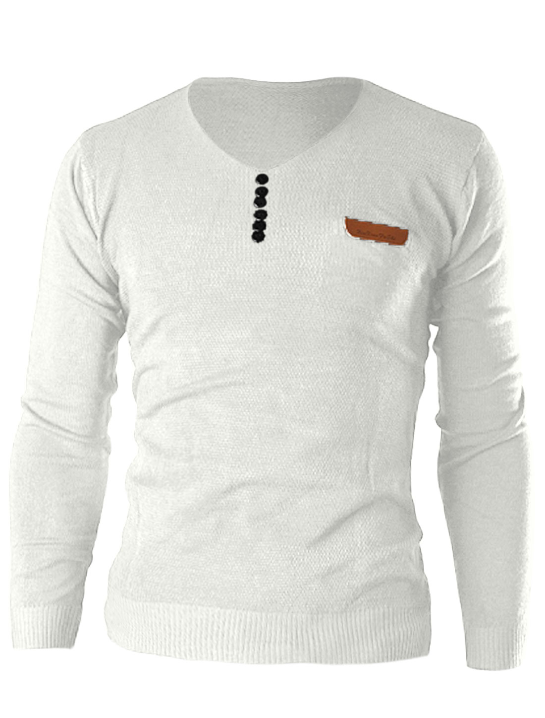 Men Pullover V Neck Long Sleeve Button Decor Front Leisure Knit Shirt White M