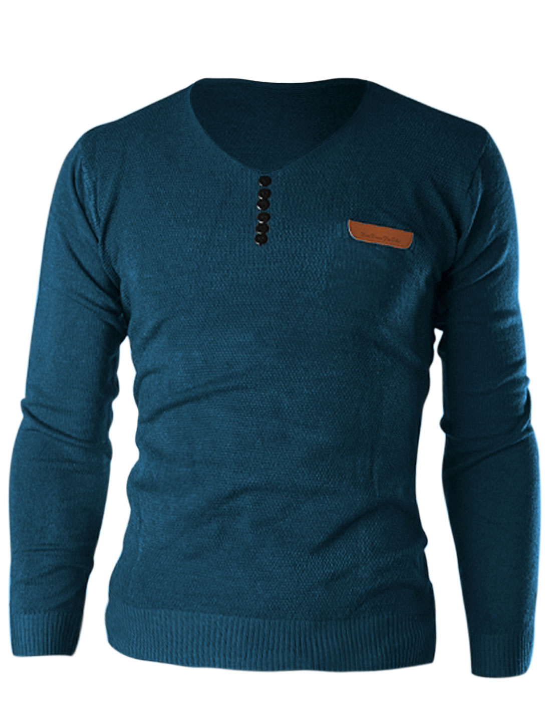 Men V Neck Fashionable Cozy Fit Knit Shirt Turquoise M