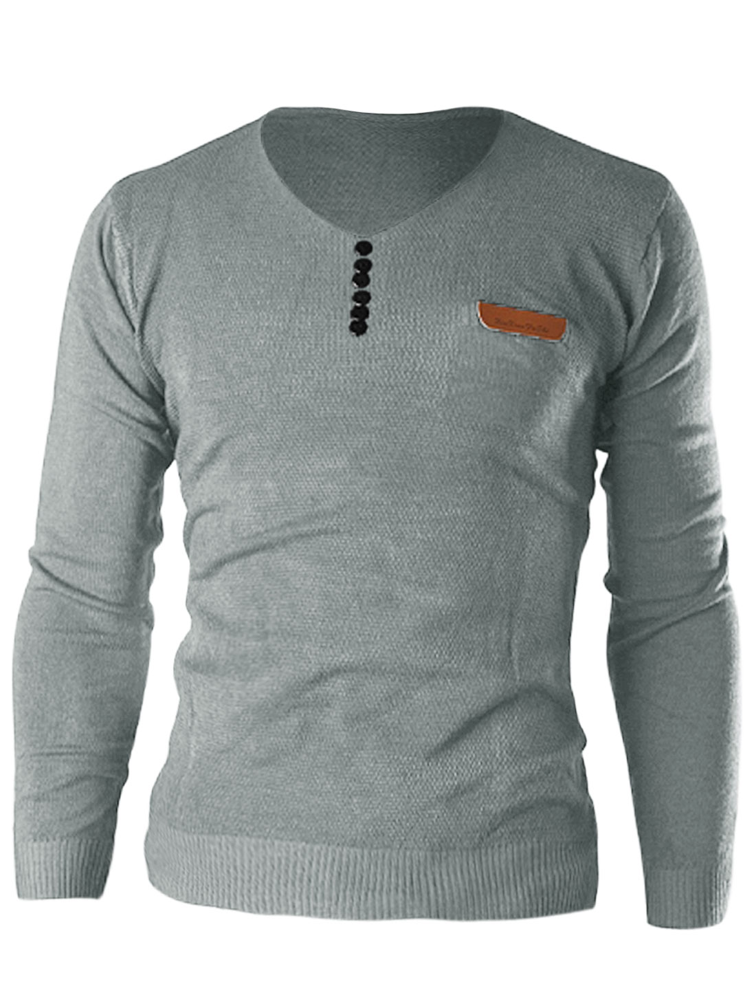 New Style Pullover V Neck Button Decor Front Shirt for Men Light Gray M