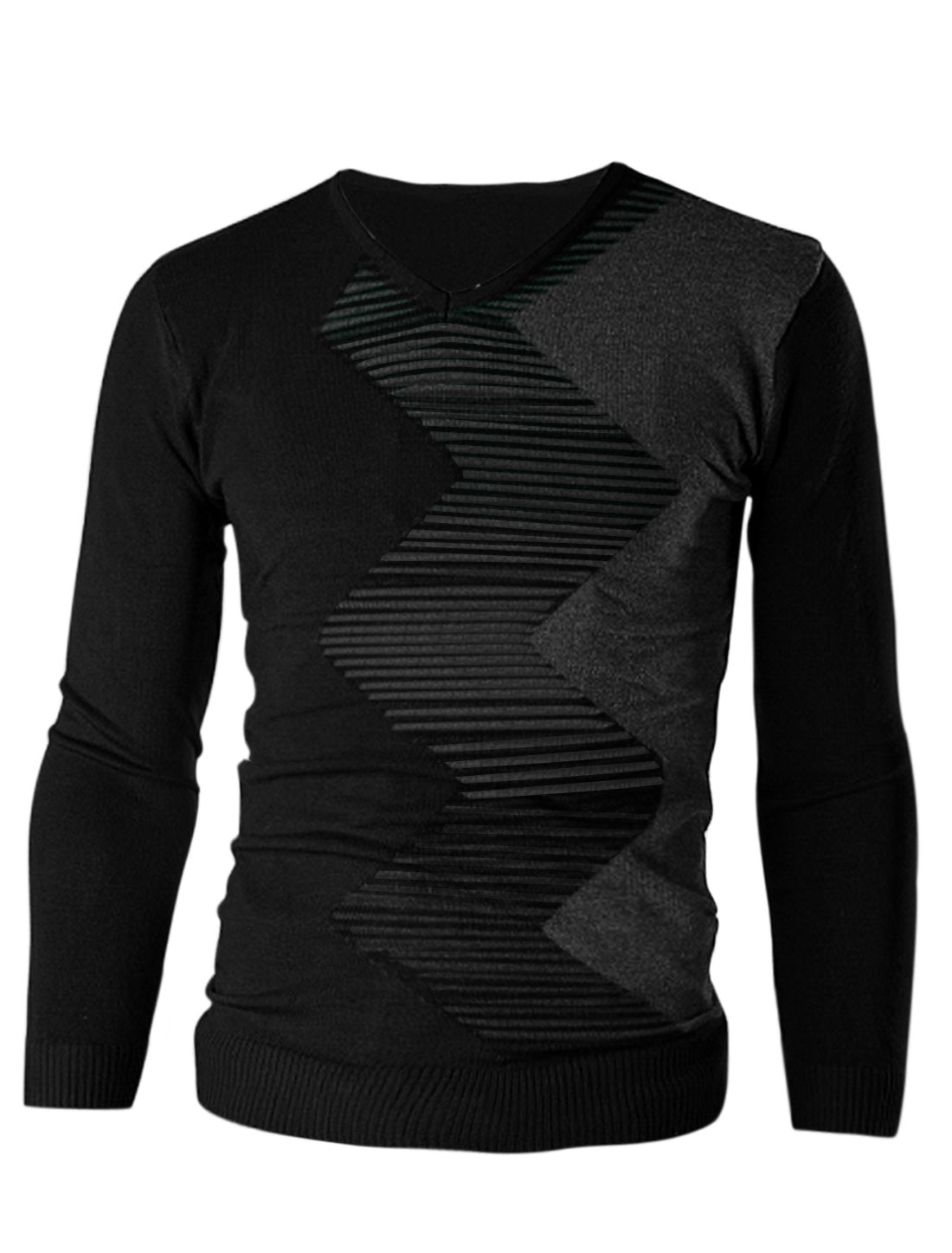 Men V Neck Stripes Zig-Zag Pattern Contrast Color Slim Knit Shirt Black M
