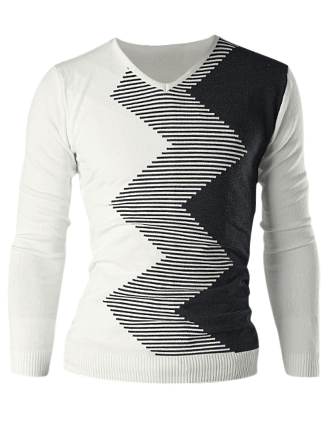 Men Long Sleeve Pullover Stripes Zig-Zag Pattern Slim Knit Shirt White M