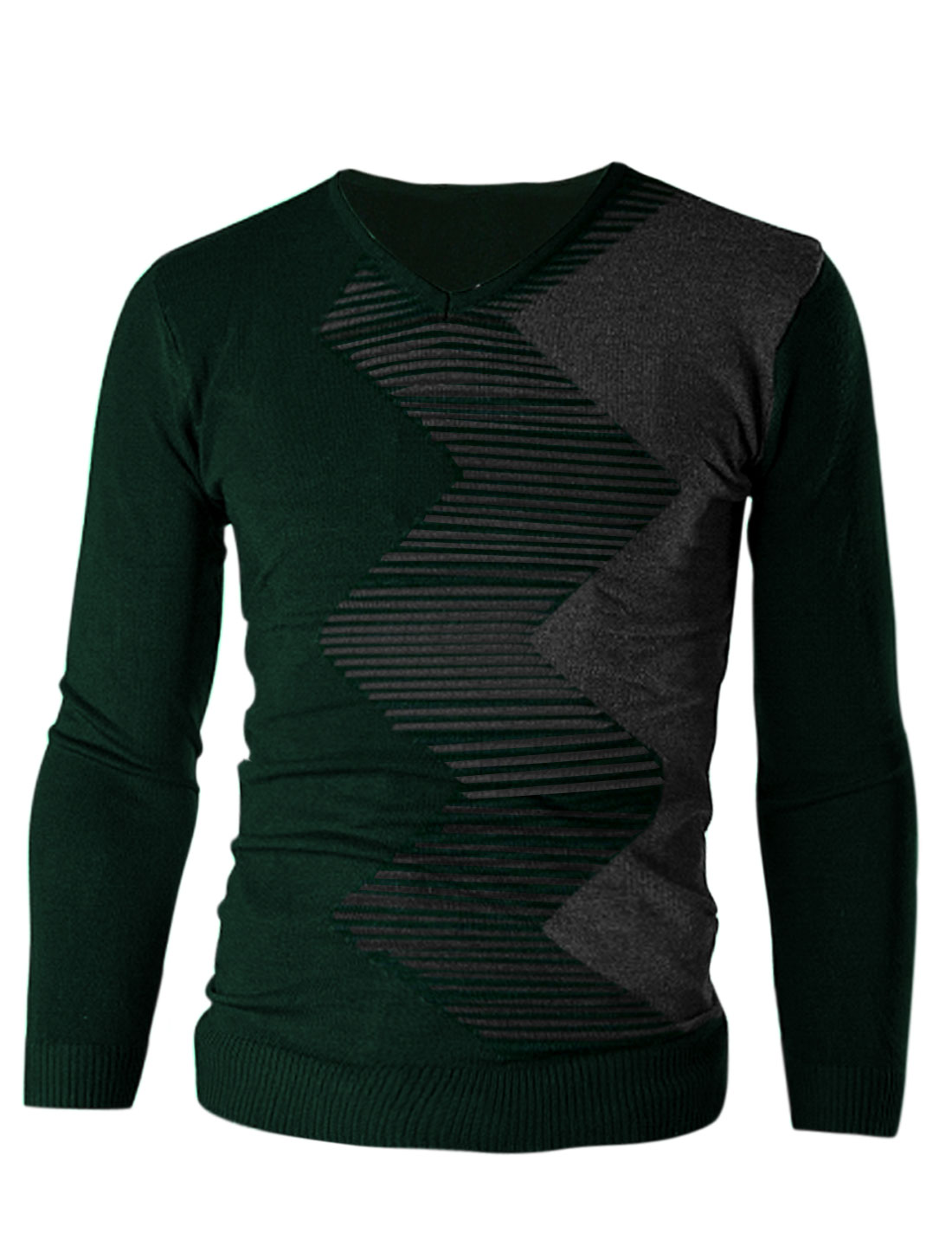 Men Color Block Stripes Zig-Zag Pattern Casual Slim Knit Shirt Green M