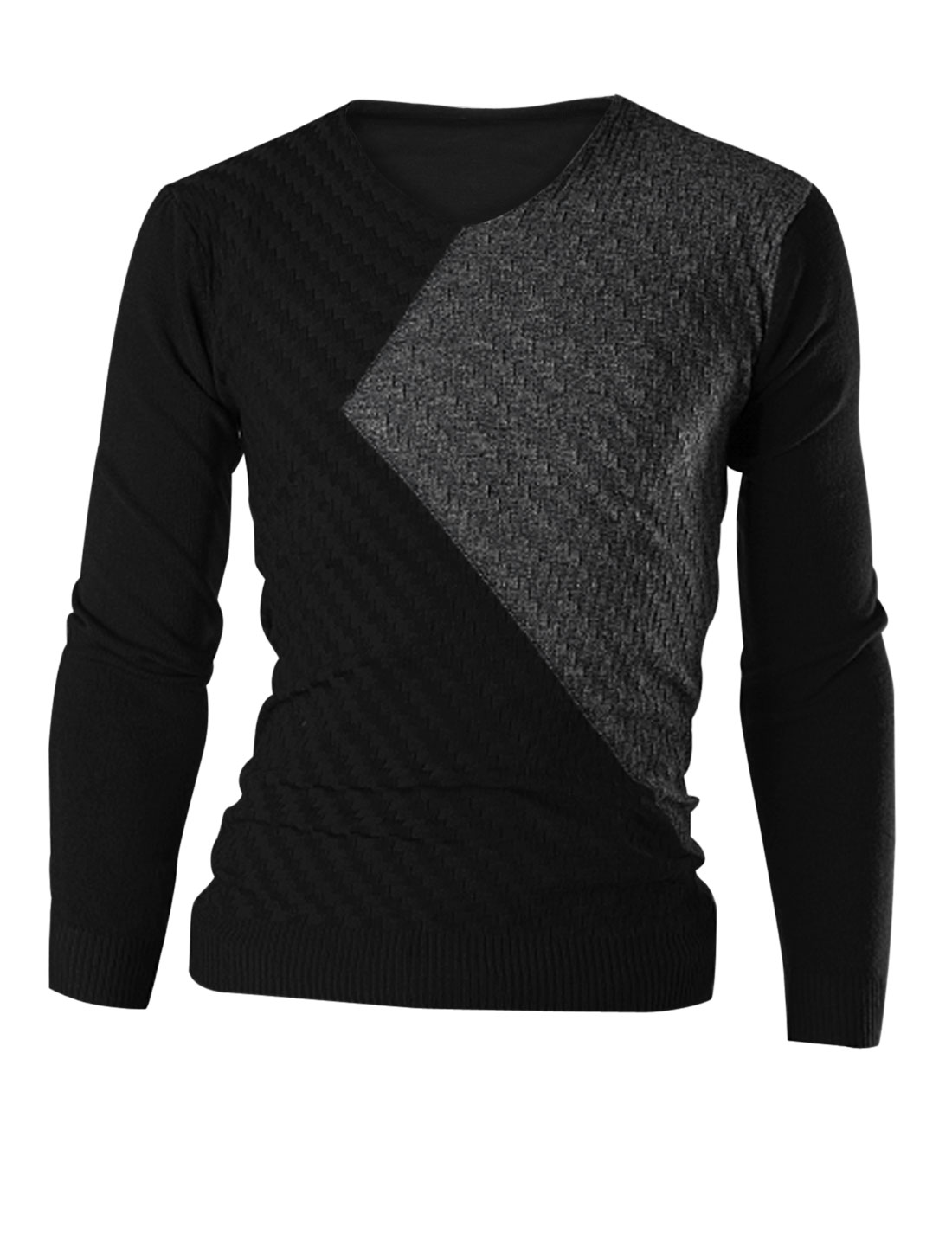 Men V Neck Color Block Fashionable Cozy Fit Knit Shirt Black Dark Gray M