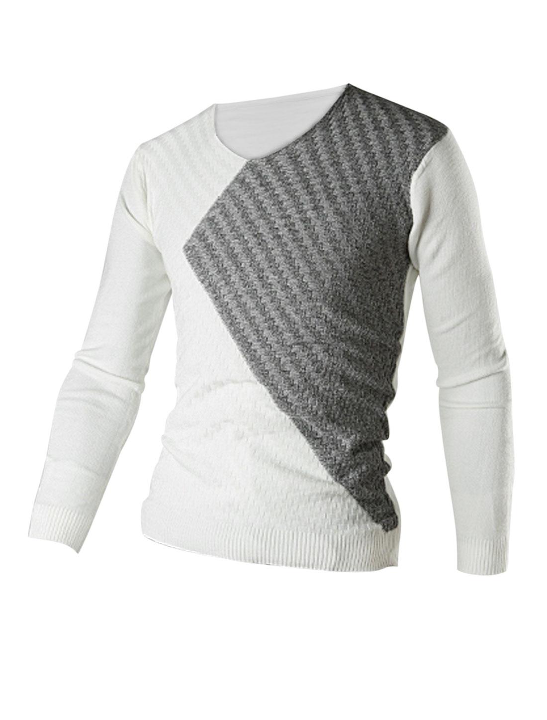 Men V Neck Design Ribbed Cuff w Hem Casual Knit Shirt White Light Gray M