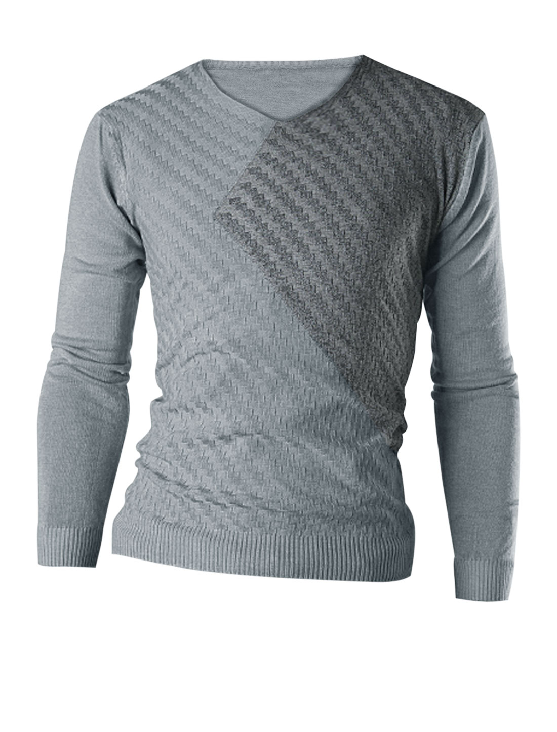 Men Slipover Color Block Stylish Casual Knit Shirt Light Gray