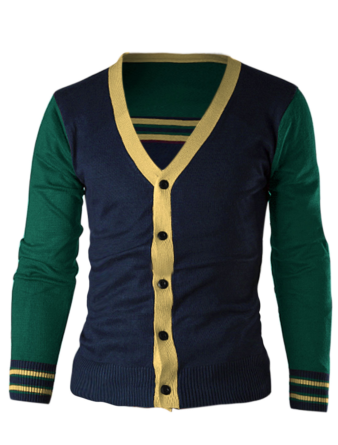 Men Contrast Color Single Breasted Ribbed Hem Cardigan Sea Green M