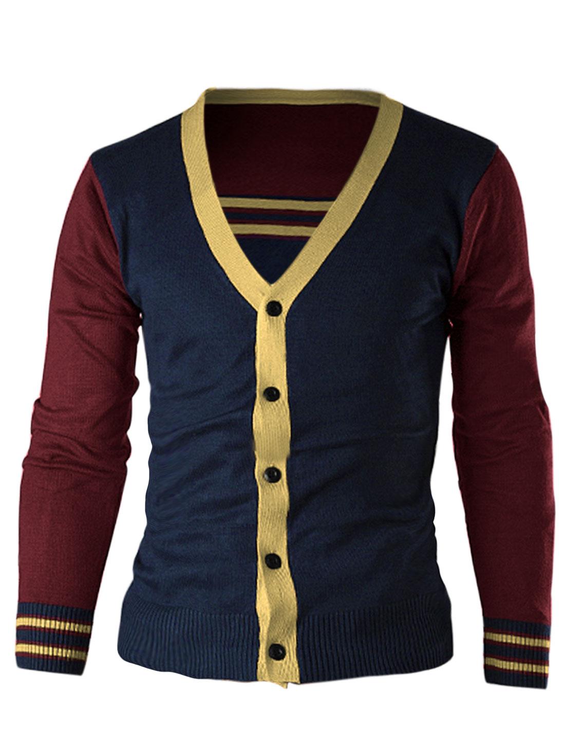 Men Button Closure Front Color Block Casual Cardigan Burgundy M
