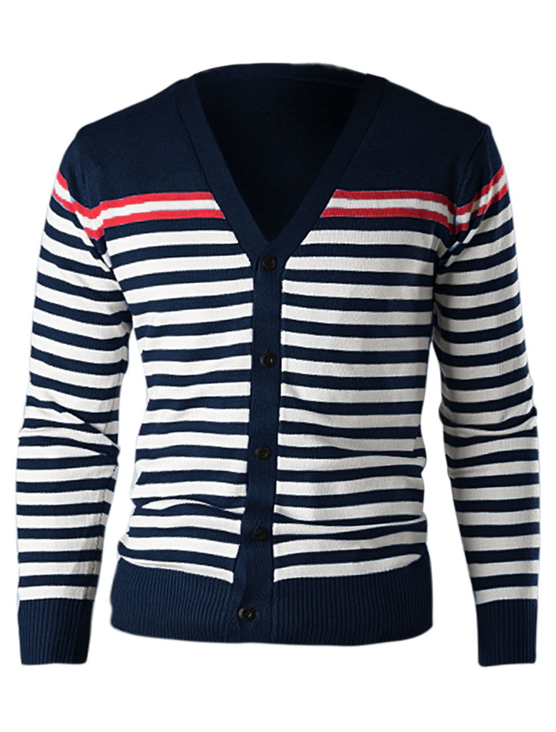 Men Contrast Color Stripes Single Breasted Ribbed Slim Cardigan Navy Blue M