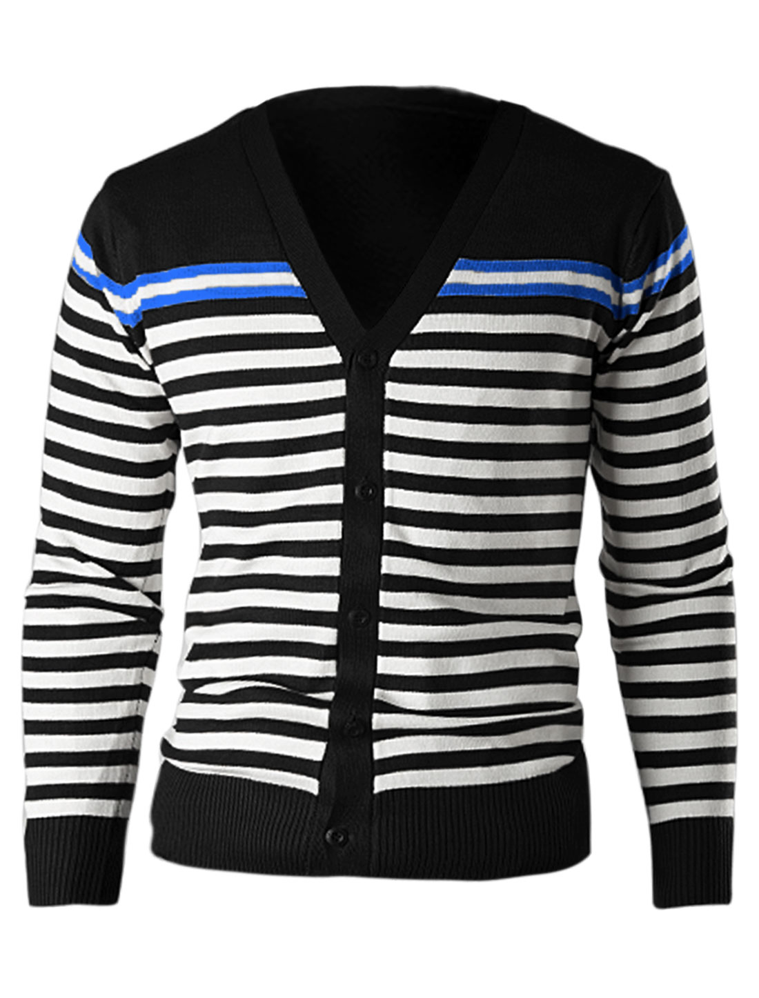 Men Long Sleeve Color Block Single Breasted Fitting Cardigan Black M